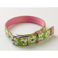 Yellow Dog Design Uptown Floral Green Daisy Buckle Dog Collar Small To Large