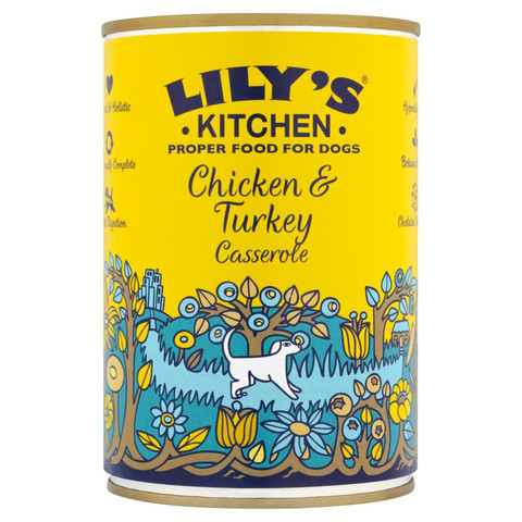 Lilys Kitchen Chicken & Turkey Casserole Grain Free Wet Dog Food 6 X 400g
