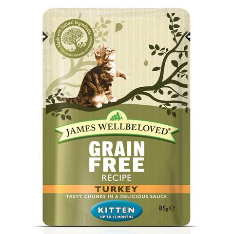 James Wellbeloved Grain Free Kitten Pouches With Turkey 12 X 85g