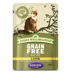 James Wellbeloved Grain Free Senior Cat Pouches With Lamb 12 X 85g