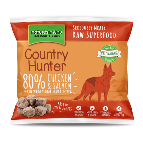 Natures Menu Country Hunter Frozen Raw Chicken And Salmon Dog Food Nuggets 1kg
