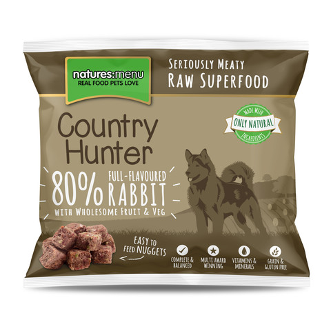Natures Menu Country Hunter Frozen Raw Rabbit Dog Food Nuggets 1kg