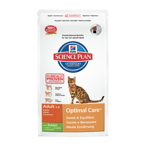 Hills Science Plan Adult Cat Optimal Care With Rabbit Dry Food 2kg
