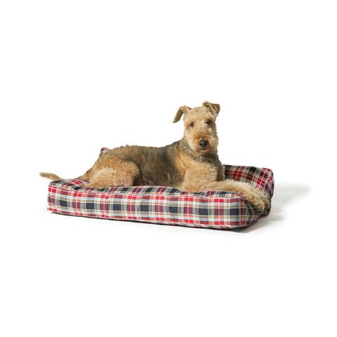 Danish Design Lumberjack Red & Grey Luxury Box Duvet Dog Bed 88x67cm