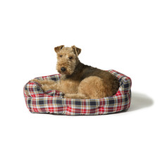 Danish Design Lumberjack Red & Grey Deluxe Slumber Dog Bed 76cm