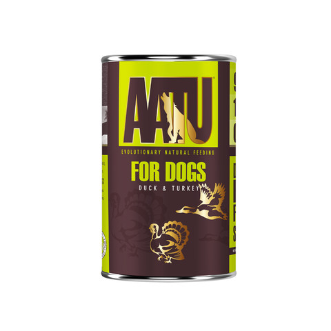 Aatu 90/10 Duck & Turkey Grain Free Adult Wet Dog Food 6 X 400g
