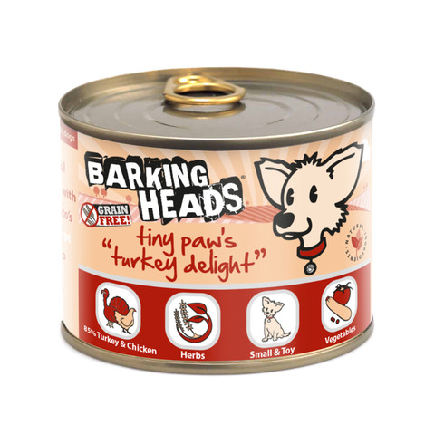 Barking Heads Tiny Paws Turkey Delight Grain Free Wet Small Breed Adult Dog Food 6 X 200g