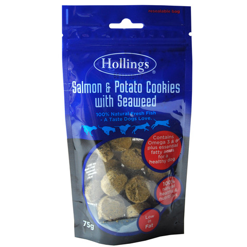Hollings Salmon & Potato Cookie With Seaweed Dog Treats 75g To 10 X 75g