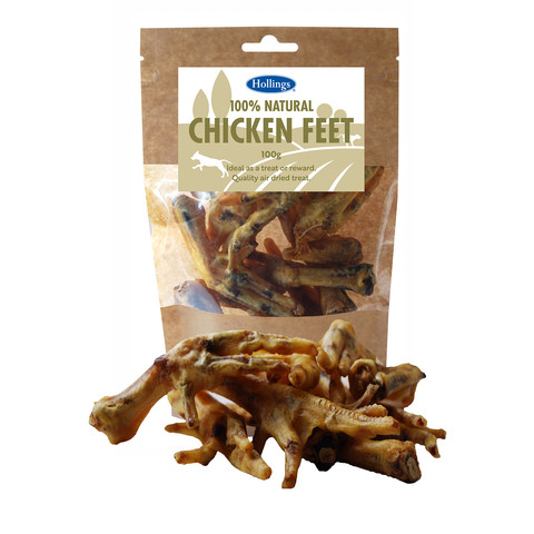 Hollings 100% Natural Chicken Feet Dog Treats 100g To 8 X 100g