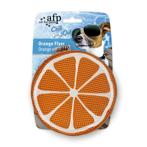 All For Paws Chill Out Orange Flyer Soaker Dog Toy
