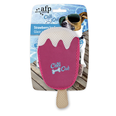 All For Paws Chill Out Strawberry Ice Cream Soaker Dog Toy