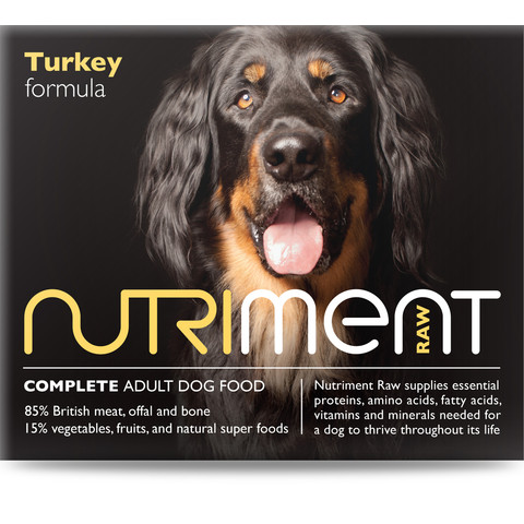 Nutriment Turkey Formula Raw Frozen Adult Dog Food Tub 500g