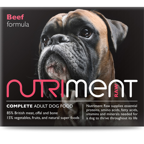 Nutriment Boneless Beef Formula Raw Frozen Adult Dog Food Chubb 1.4kg