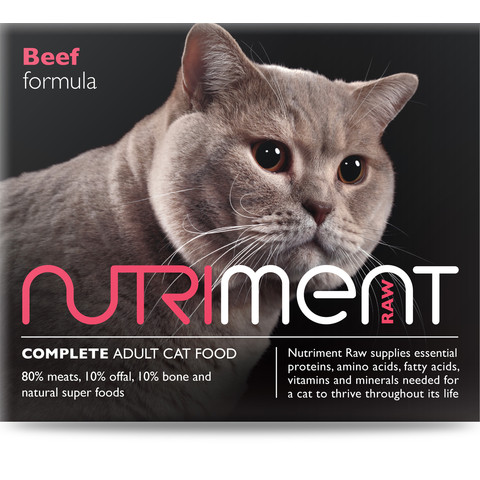 Nutriment Beef Formula Raw Frozen Adult Cat Food Tub 500g
