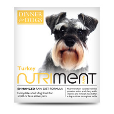 Nutriment Dinner For Dogs Turkey Formula Raw Frozen Adult Dog Food Tray 200g