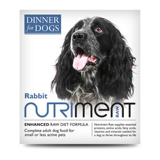 Nutriment Dinner For Dogs Rabbit Formula Raw Frozen Adult Dog Food Tray 200g