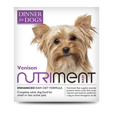 Nutriment Dinner For Dogs Venison Formula Raw Frozen Adult Dog Food Tray 200g