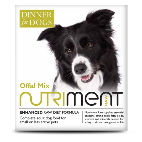 Nutriment Dinner For Dogs Offal Mix Complementary Raw Frozen Adult Dog Food Tray 200g