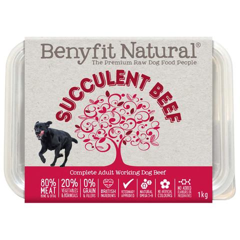 Benyfit Natural Succulent Beef Premium Raw Frozen Adult Dog Food 1kg