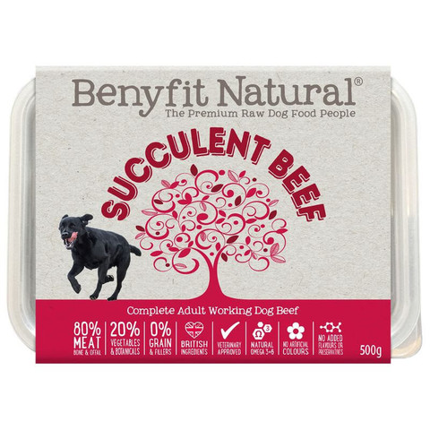 Benyfit Natural Succulent Beef Premium Raw Frozen Adult Dog Food 500g