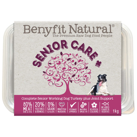 Benyfit Natural Senior Care Turkey Premium Raw Frozen Senior Dog Food 1kg