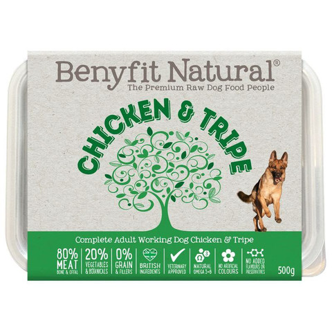 Benyfit Natural Chicken And Tripe Premium Raw Frozen Adult Dog Food 500g