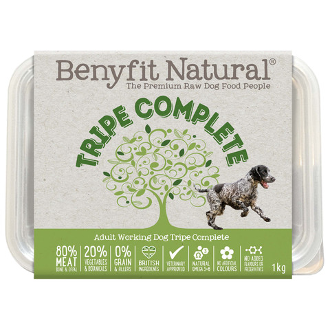 Benyfit Natural Tripe Complete Premium Raw Frozen Adult Dog Food 1kg