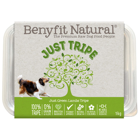 Benyfit Natural Just Tripe Complementary Premium Raw Frozen Adult Dog Food 1kg