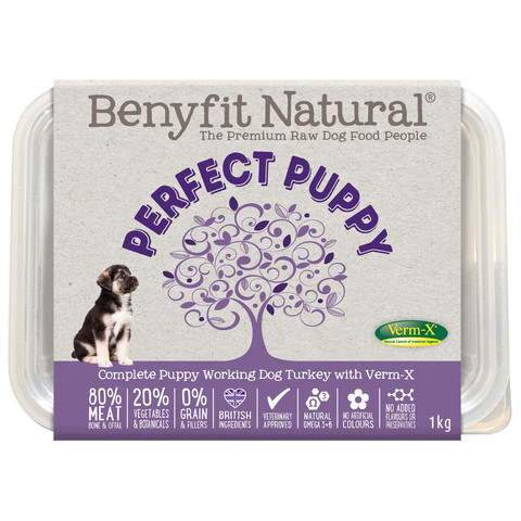 Benyfit Natural Perfect Puppy Turkey Premium Raw Frozen Puppy Food 1kg