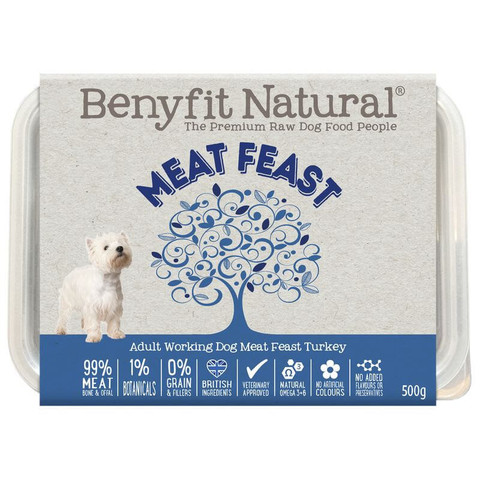 Benyfit Natural Meat Feast Premium Raw Frozen Adult Dog Food 500g