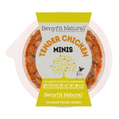 Benyfit Natural Minis Tender Chicken Premium Raw Frozen Small Breed Adult Dog Food 200g
