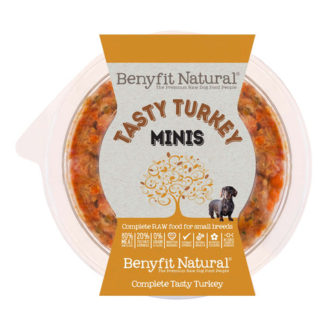 Benyfit Natural Minis Tasty Turkey Premium Raw Frozen Small Breed Adult Dog Food 200g