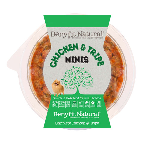 Benyfit Natural Minis Chicken And Tripe Premium Raw Frozen Small Breed Adult Dog Food 200g