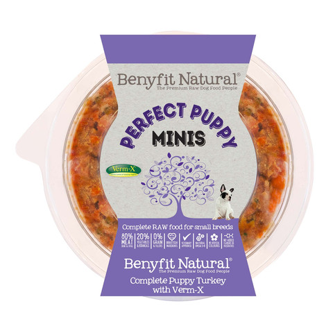 Benyfit Natural Minis Perfect Puppy Turkey Premium Raw Frozen Small Breed Puppy Food 200g