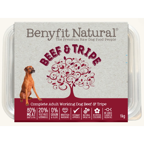 Benyfit Natural Beef & Tripe Premium Raw Frozen Adult Dog Food 1kg