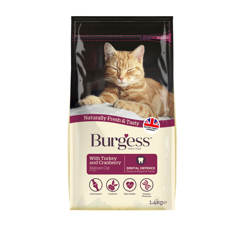 Burgess Mature Cat Food With Turkey And Cranberry 1.4kg