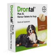 Drontal Dog Xl Plus Flavour Round Shaped Worming Tablet 1 Tab To 2 Tab