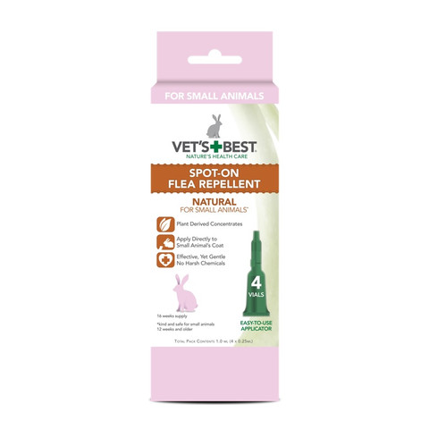 Vets Best Natural Spot On Flea Repellent For Small Animals 4 Pipette