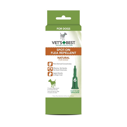 Vets Best Natural Spot On Flea Repellent For Dogs & Puppies 6 Pipette