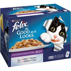 Felix As Good As It Looks Adult Cat Pouches Favourites Selection In Jelly 12x100g