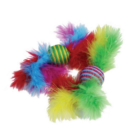 Happy Pet Carnival Rattler Feather Boa Ball Cat Toy  To 28 X