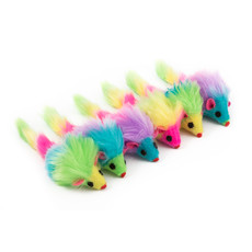 Ancol Fury Rainbow Mice Cat Toys 6 Pack To 6 X 6 Pack