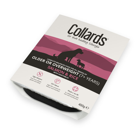 Collards Hypo-allergenic Older Or Overweight Dogs Wet Tray With Salmon And Rice 10 X 400g