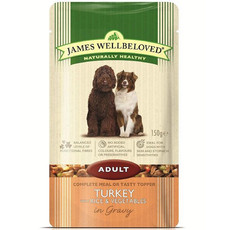 James Wellbeloved Adult Dog Pouch With Turkey, Rice And Vegetables In Gravy 10 X 150g