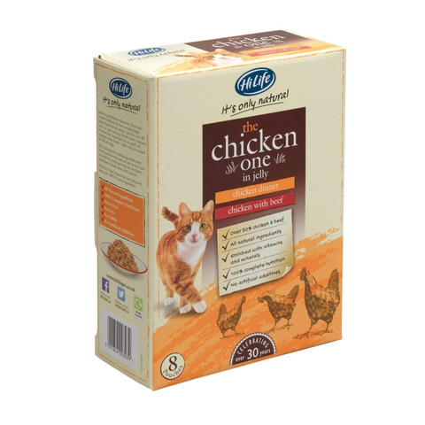 Hilife It's Only Natural Grain Free Cat Pouches The Chicken One In Jelly 8x70g To 4 X 8x70g