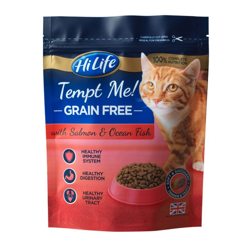 Hilife Tempt Me! Grain Free Salmon And Ocean Fish Semi Moist Cat Food 800g To 4 X 800g