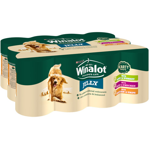 Winalot Heartyduo Meat In Jelly Wet Dog Food 12x400g