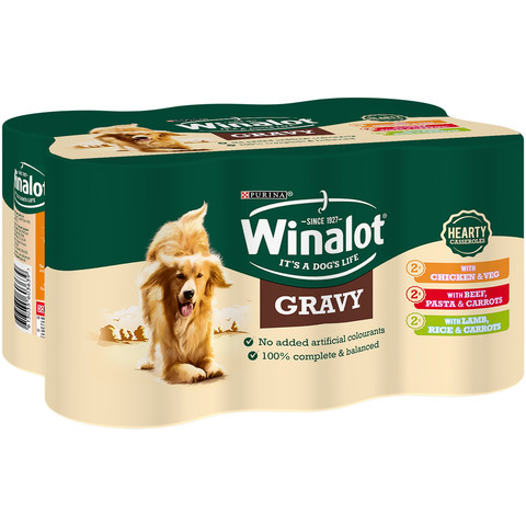 Winalot Hearty Adult Meat In Gravy Wet Dog Food 6x400g To 4 X 6x400g