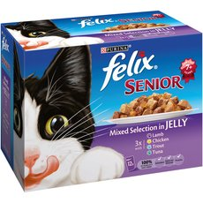 Felix Senior Cat Food Pouches Mixed Selection In Jelly 12x100g To 4 X 12x100g