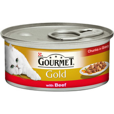 Gourmet Gold Cat Food Chunks In Gravy With Beef 12 X 85g